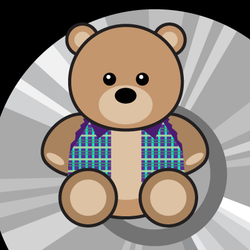 teddy bear with plaid vest graphic