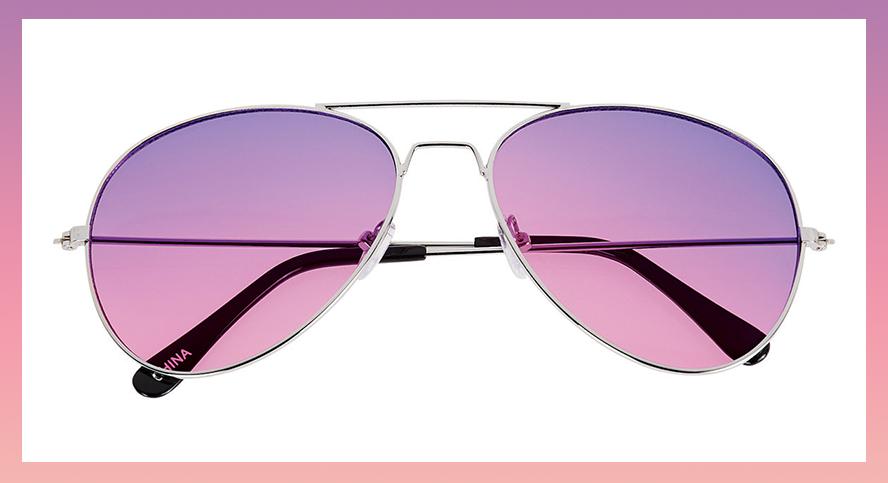 Aviator sunglasses with purple lenses
