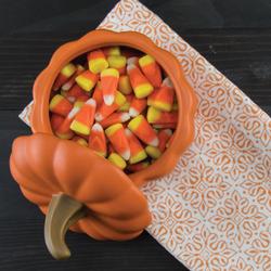 Candy corn in a pumpkin dish