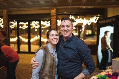 Couple at a Holiday Christmas party