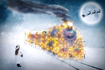 Christmas light-up train