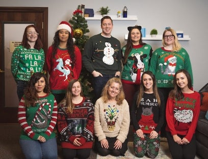 Ugly Christmas sweaters at the office