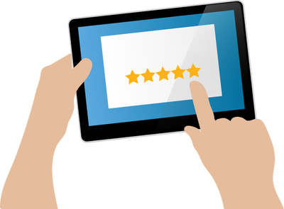 leaving a review graphic