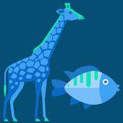 Giraffe and fish graphic