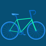 blue and green bicycle graphic