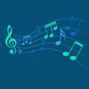 blue and green music notes graphic