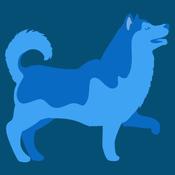 happy dog walking graphic