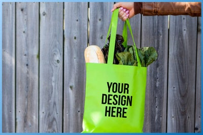 custom tote bag with groceries
