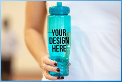 person holding a custom water bottle