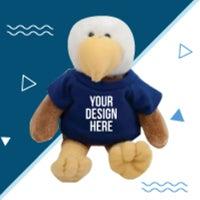 eagle stuffed animal with custom t-shirt