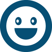 blue happy face graphic