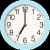 light blue clock graphic