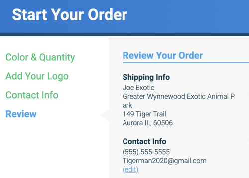 quality logo products ordering form
