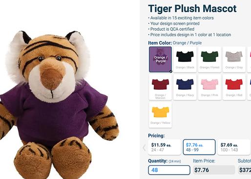 Tiger plush mascot order
