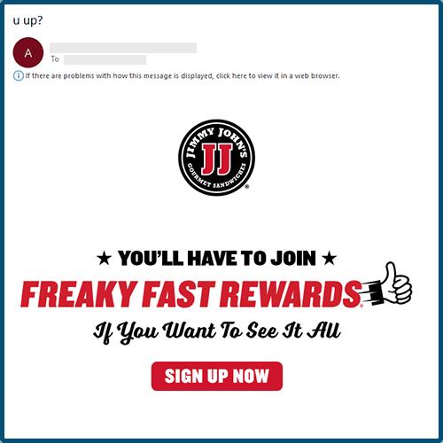 "Jimmy John's ""u up?"" email"