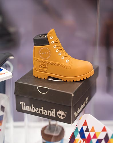 Promotional USB Charger designed to look like a small Timberland boot.