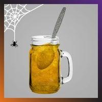 Pumpkin jam in mason jars for Halloween