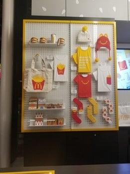 Wall of McDonald's merchandise