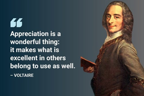 appreciation is a wonderful thing voltaire