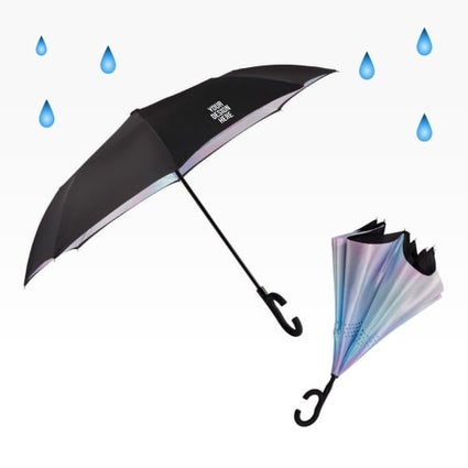 iridescent inverted umbrella