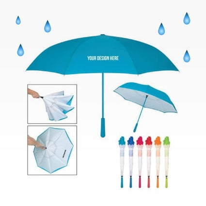 white bottom inverted umbrella