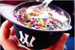 Yankees helmet with ice cream