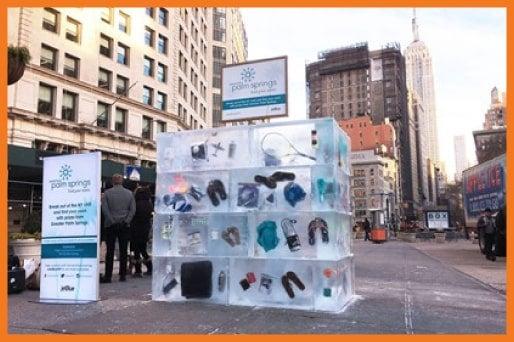 JetBlue ice block campaign