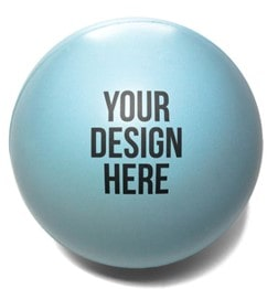 blue stress ball with black imprint color