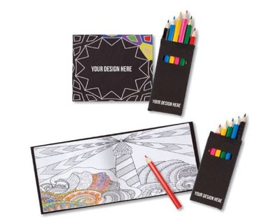 custom coloring books and colored pencils