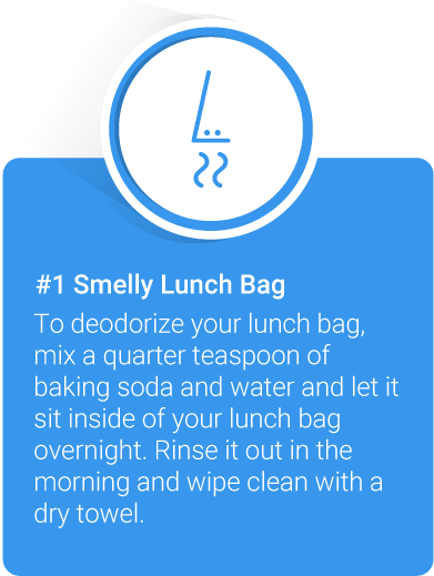 To deodorize your lunch bag, mix a quarter teaspoon of baking soda and water and let it sit inside of your lunch bag overnight. Rinse it out in the morning and wipe clean with a dry towel.