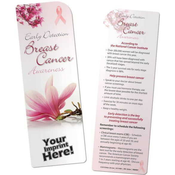 Pink / White Breast Cancer Awareness Bookmark