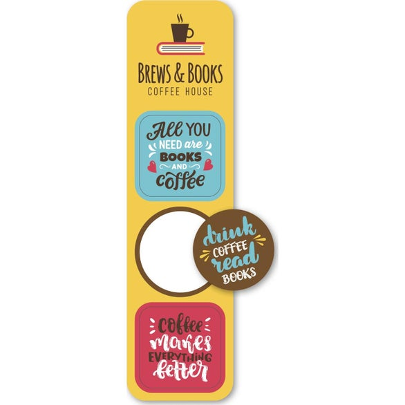 Full Color Imprint Pop Bookmark Stickers with Circle and Squares
