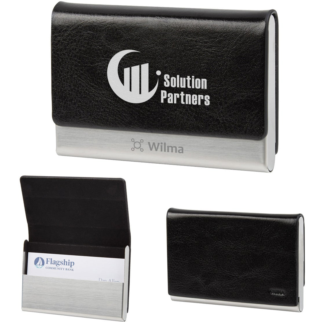 Promotional stainless steel business card holders with custom logo blacksilver stainless steel business card holder promotional reheart Gallery