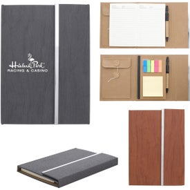 Woodgrain Padfolio with Sticky Notes And Flags (70 Sheets)