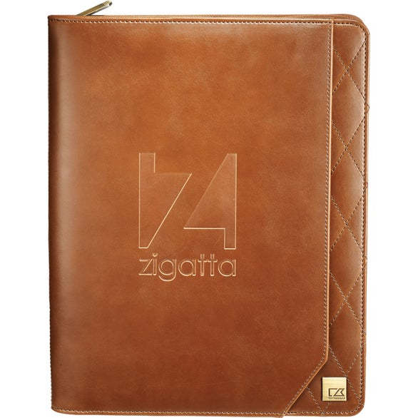 Brown Cutter and Buck Bainbridge Zippered Padfolio