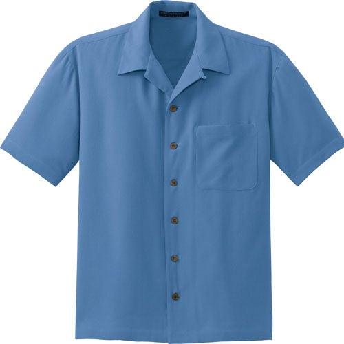 port authority signature silk blend camp shirt