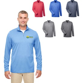 UltraClub Cool and Dry Heathered Performance Quarter-Zip Shirt (Men's)