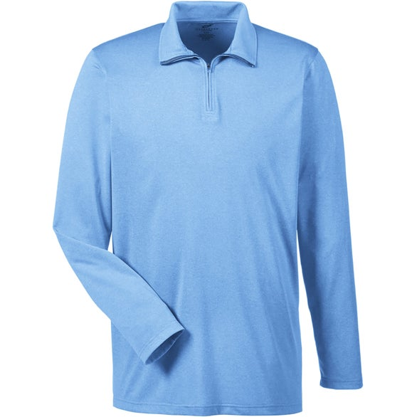 Light Blue UltraClub Cool and Dry Heathered Performance Quarter-Zip Shirt