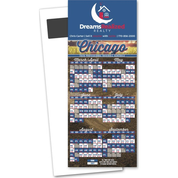 Full Color Imprint Baseball Schedule Magnetic Stick Up Card