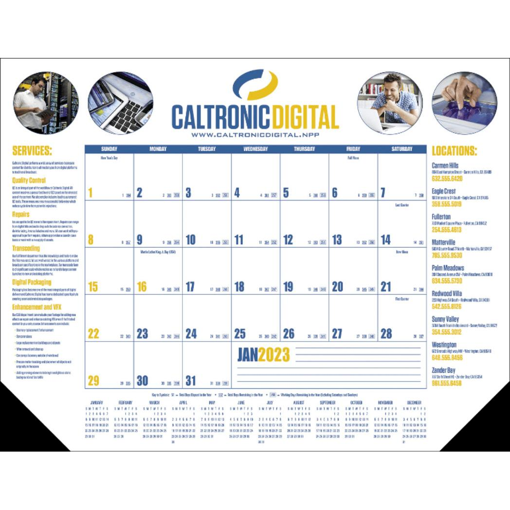 promotional 2019 grid type c multi color desk pad calendars with
