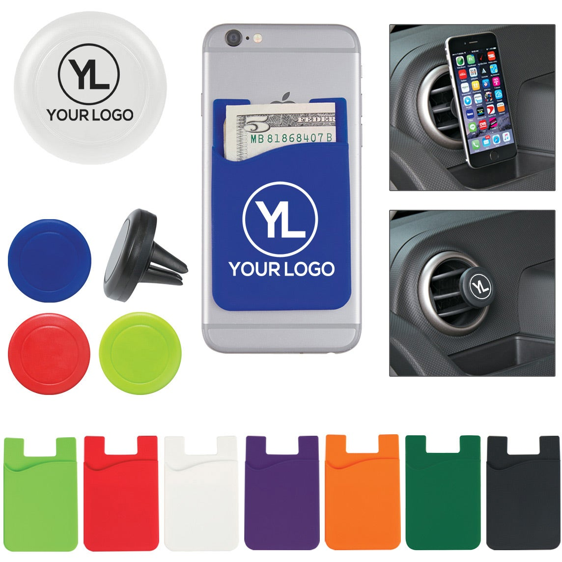Auto Air Vent Phone Mount and Magnetic Phone Wallet