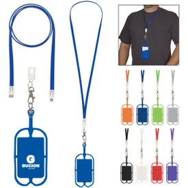 2-In-1 Charging Cable Lanyard with Phone Holder and Wallet