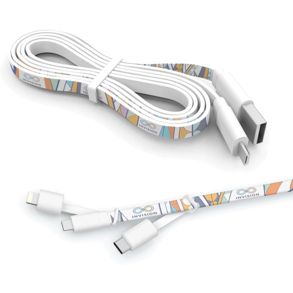 White 3 Foot Branded Triple Tip Cable