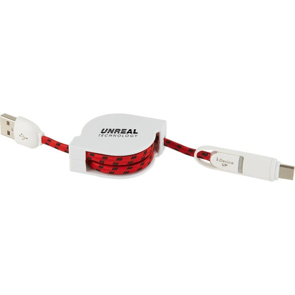 White / Red 3-In-1 Retractable Fabric Charge-It Cable