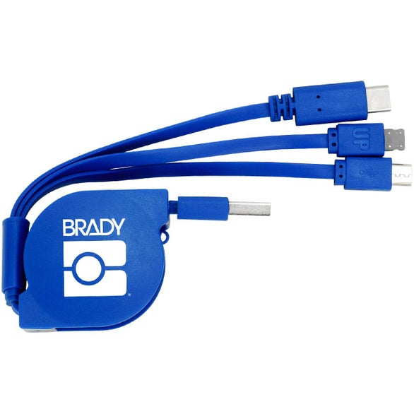 Blue 3-in-1 Retractable Noodle Cable with Type C USB
