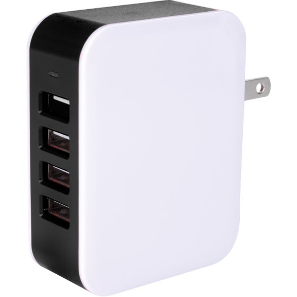 White / Black 4-Port USB Wall Adapter