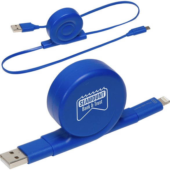 Blue All-In-One Retractable Charging Cable