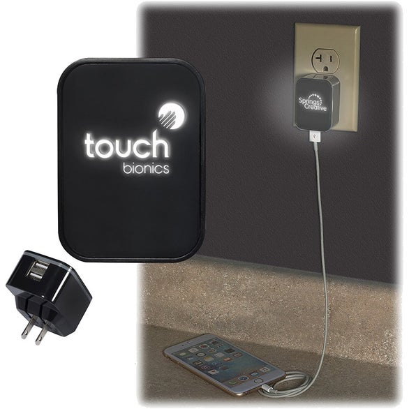 Black Light Up Your Logo Duo USB Wall Charger