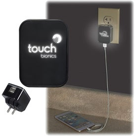 Light Up Your Logo Duo USB Wall Charger (UL Listed)
