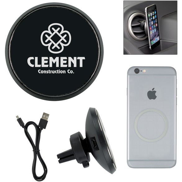 Black Magnetic Car Vent Wireless Phone Charger